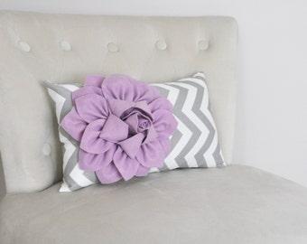 Chevron Lumbar Pillow Lilac Purple Dahlia on Gray and White Zig Zag Lumbar Pillow 9 x 16