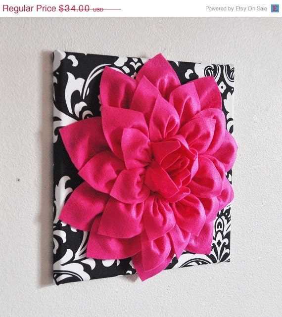 hot pink wall hanging hot pink dahlia on black and by bedbuggs