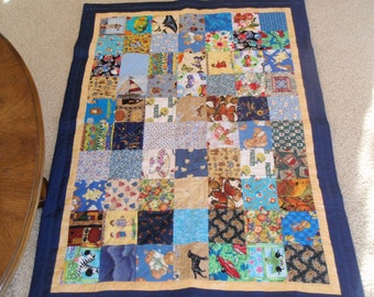 Child's Cuddle Quilt 38 x 51 Colorful Pictures Lap or Crib Quilt Handcrafted Baby gift