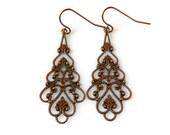 Teardrop Filigree Earrings Lace Earrings Patina Brown Earrings Dangle Long Boho Earrings Vintage Style Antique Brass Earrings Gift for Her