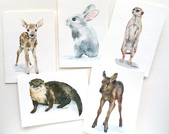 Woodland Animal Watercolor Painting Greeting Card Set - 5 x 7 Cards - Nursery Animals Card Prints