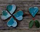 One turquoise ceramic heart - wedding favor, love declaration gift, Valentine's gift