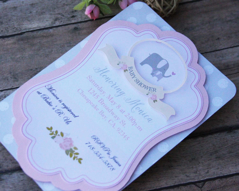 elephant baby shower invitations baby shower by lizabitsdesigns