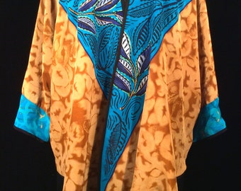 hand painted silk jacket in copper and turquoise