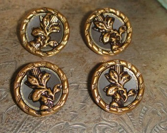 Antique Buttons Victorian Metal Picture Button 1800's Victorian Era 4 in lot Metal Buttons