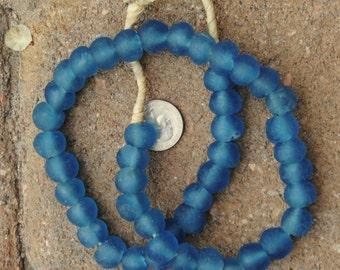 Ghana Glass Beads: Blue 12mm
