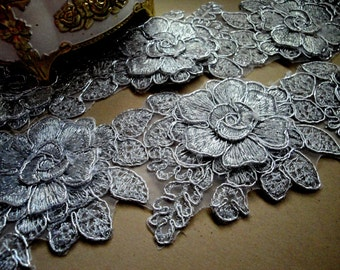 "USA Supplier 1/2, 1, 3, 5 Yards of 3"" Wide 7.5 cm Silver Applique Alencon Trim Lace Metallic Cord Embroidery for Wedding Bridal Sash KVTR"