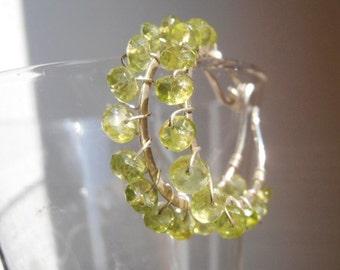 Christmas gift Peridot hoop earrings, sterling silver