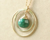 Emerald necklace, May birthstone necklace, gold infinity necklace, new mother jewelry - Celeste