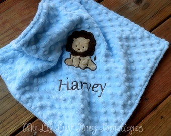 Personalized baby blanket- baby blue and brown lion- lovey blanket
