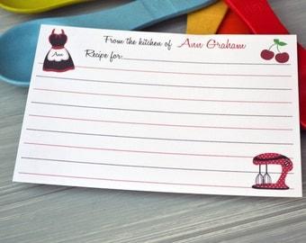 Personalized Recipe Card - Personalized Recipe Cards - Recipe Card Set - Red and Black Recipe Card Set
