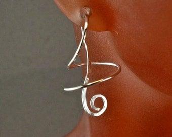 Small Earrings - SPIRAL Earrings - Corkscrew Earrings - Wind on Earrings -  Wire Dangle Earrings - Nickel Free