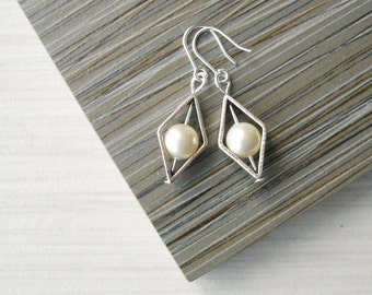 Small Pearl Drop Earrings - Bridal Jewelry, June Brithstone Gift, Modern, Diamond, Ivory, White, Grey, Gold, Wedding, Titanium, Sterling