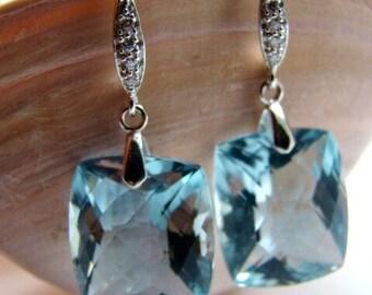 Sale Luxury Sky Blue Topaz Pave Sterling Silver Earrings