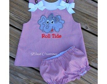 Auburn Tigers baby girl, Alabama baby, Roll Tide baby inspired girl's dress with bloomers