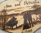 Romantic Wedding Cake Topper -Silhouette Couple with Lake, Trees, Piano and Moon -Personalizable Pyrography