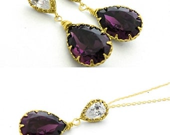Amethyst Swarovski Bridal Earrings and Necklace Set, Purple Art Deco Bridal Earring, Plum Bridal Drop Earring, Old Hollywood Wedding Jewelry