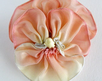 Sweet Peach Pansy Pin - Vintage French Ribbon - Handmade