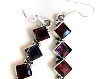 Amethyst and Garnet Earrings Silver plated,Dangle jewelry,Chandelier earrings Gemstone jewelry by Taneesi