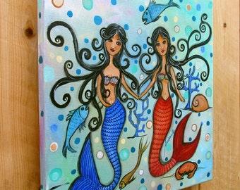Folk Art Painting Mermaid Seascape Love Bestfriend Couple Original Painting Flowers