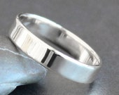 Sterling Silver Ring - 4mm Rectangle Band - Unisex - Shiny, Matte or Hammered