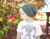 Adult Slouchy Hat in Olive Tweed, Crochet Hats for Women, Slouchy Beanie (Morgan)