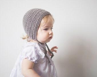 Grey Crochet Toddler Bonnet in Merino - Toddler Girl's Hat, Crochet Toddler Hat, Girl Bonnet, 12 Months to 4T (Skyla)