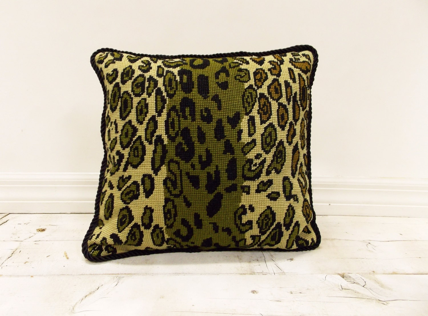 Animal Print Needlepoint Pillows : Vintage Unique Animal Print Needlepoint Pillow Striking Sage