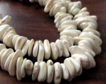 "White Ivory Turquoise Beads - Slice Heishi Irregular Beads - Flat Nugget beads with Dark Matrix, 7.5"" Strand - DIY Jewelry Making"