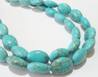"Turquoise Beads - Blue Turquoise Oval Beads - Smooth Oval Gemstone - Dark Matrix Howlite - 16"" Strand - 17mmx12mm - DIY Jewelry Making"