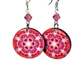 Hot Pink Mandala Earrings New Age Jewelry Kaleidoscope, Gift for Her, SMALL