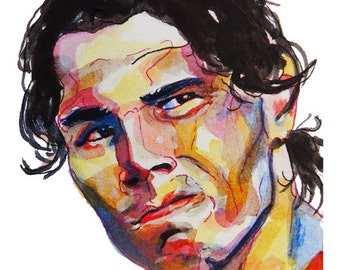 Spanish Tennis Player Rafa Nadal Painting Reproduction Print 11 x 8.5