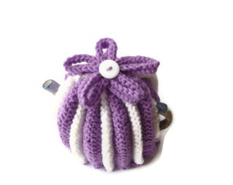 tea cozy hand knitted tea cosies purple and  white cosy  small pot wool uk seller