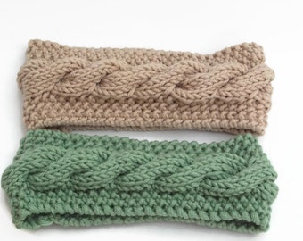hand knitted headband earwarmer  with wool uk seller