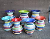 Mother's Day Medium Ceramic Vase - Bright Rainbow Colored Stripes - Flared Rim - Teal Turquoise Interior