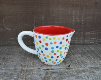 Ceramic Creamer / Mini Pitcher - Handpainted in Rainbow Polka Dots - Solid Red Interior