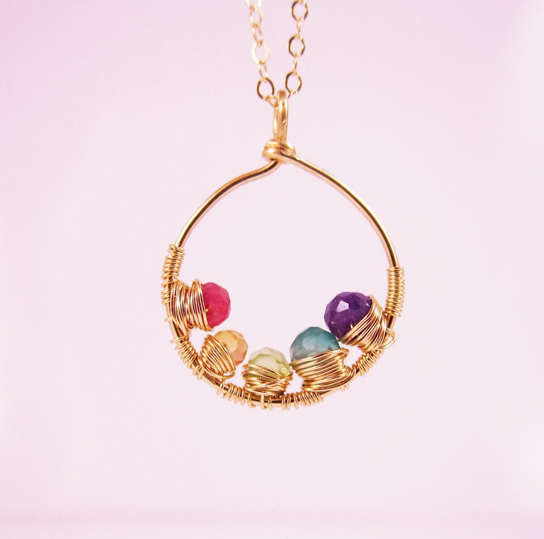 gold mother 39 s necklace with birthstones grandmother 39 s. Black Bedroom Furniture Sets. Home Design Ideas
