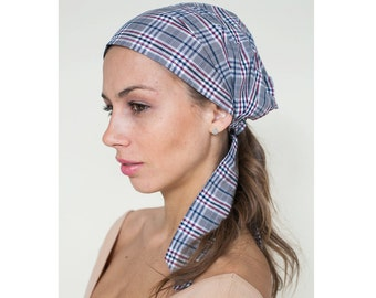 Head Scarves, Gray Plaid, Fashion Headscarf, Scarf Hair Tie, Head Cover Hair Wrap, Women's Head Scarf in Cotton