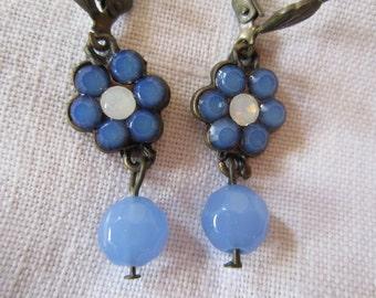 Bright Blue Beaded Vintage Earrings