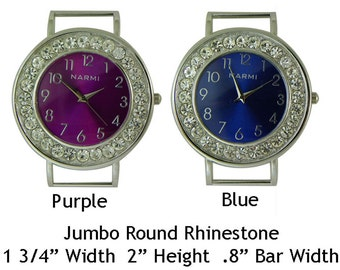 Jumbo Round Rhinestone Solid Bar Watch Faces for Interchangeable Bracelet Watch