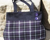 Over the Shoulder Purse in Purple Plaid & Black Suede