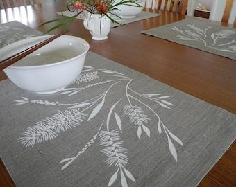 Screen Printed Linen Placemats Hand Printed Table Mats White & Natural Bottlebrush (set of 4)