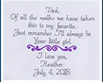 Embroidered Wedding Handkerchief Wedding Gift for Dad Embroidered Hankerchief Wedding, Father of the bride, By Canyon Embroidery