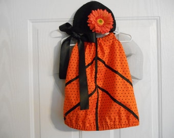 Butterfly Halloween Costume orange black size 18 months only with flower and headband or hat SHIPS PRIORITY MAIL