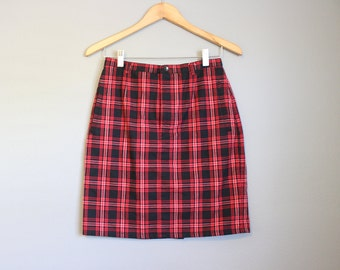 Red Plaid Skirt Christmas Vintage Holiday Mini Tartan 90s Small