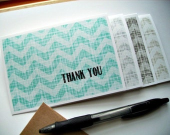 Chevron Thank You Notes - Linen Crosshatch Design Thank You Cards, Modern Contemporary Stationery, Aqua Blue Charcoal Light Grey Tan Chevron