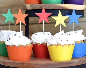 12 Rainbow colored Star Cupcake Picks, custom colors available