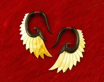 Fake Gauges, Handmade, Horn Earrings, Cheaters, Organic, Plugs, Split, Tribal Style -  Nava Wings Shell MOP Horn