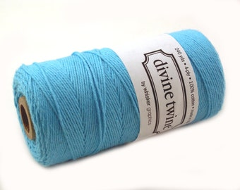SOLID Bakers Twine 240 yard spool - Bright teal blue twine - string for crafting, gift wrapping, packaging, invitations