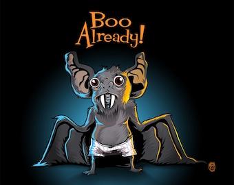 Halloween Bat Boo Humor 8x10 Print